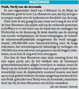 Artikel Maas en Niersbode 4 maart 2015
